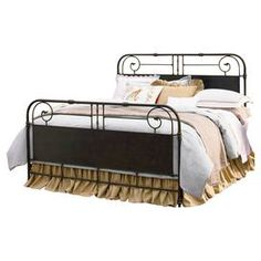"""Scrolled bed with turned detailing.     Product: Bed    Construction Material: Metal    Color: Distressed tobacco           Dimensions: Twin: 54"""" H x 41"""" W x 81"""" DQueen: 59"""" H x 63"""" W x 85"""" D King: 59"""" H x 79"""" W x 85"""" D"""