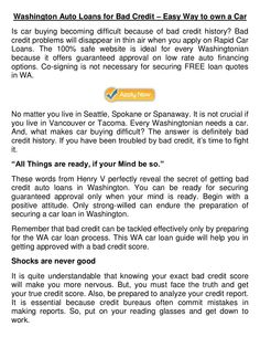 wash-away-every-bad-credit-fear-and-get-approved-for-washington-bad-credit-auto-loans by Patricia Martin via Slideshare
