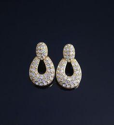 Signed Swarovksi Pave Rhinestone Earrings Swan Mark by VintageGemz, $25.00