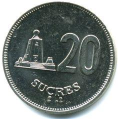 20 Sucres #Ecuador -1988-1991 Stemma dello stato.