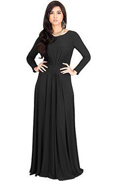 KOH KOH Plus Size Womens Long Full Sleeve Sleeves Flowy Empire Waist Fall  Winter Modest Formal Floor Length Abaya Muslim Gown Gowns Maxi Dress Dresses c4110788d006
