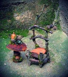 Fae chair and mushroom tea table