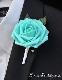 Robins Egg Blue BOUTONNIERE. Pool Blue by KimeeKouture on Etsy