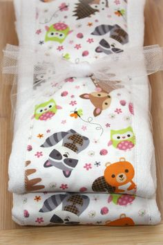 Girly Woodland Creatures Set of 2 Burp Cloths by mylittlebigcheeks, $10.00