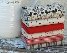 Fat quarter fabric bundle - earthy greens, creams and reds - 100% cotton