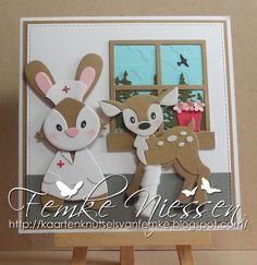 Made by Femke Niessen: Oh deer bambi. get well card. Oh Deer, Baby Deer, Marianne Design Cards, Craft Punches, Collectible Cards, Christmas Cards, Christmas Ornaments, Die Cut Cards, Get Well Cards
