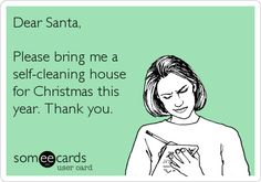 Dear Santa, Please bring me a self-cleaning house for Christmas this year. Thank you.