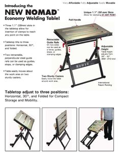 Nomad folding Welding Table: what NOT to buy. Had a pair and just gave them away. I love Valtra/Stronghand tools, but this one is not worthy of their name!