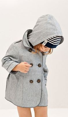 Adorable Baby Girl in a Pea Coat and Beanie. I want this outfit for my little girl !