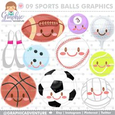 Sports Clipart, Sports Graphics, COMMERCIAL USE, Sports Clip Art, Kawaii Clipart, Sports Party, Sports Balls Clipart, Balls Clipart, Soccer