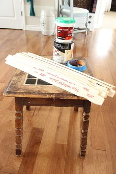 Herringbone Paint Stick Table Makeover | The Wood Grain Cottage
