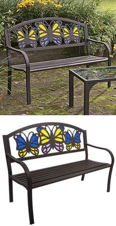Tiffany Style Butterfly Bench <3