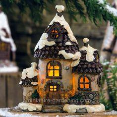 Miniature Gardening - Christmas Eve Solar Winter Cottage in the fairy garden  #miniaturegardening #fairygarden #planningminiature garden
