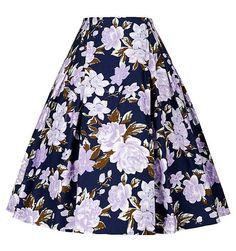 50s Floral print Skirts Womens faldas Summer Style Pleated plus size retro Casual Vintage skater skirt patterns saia feminina