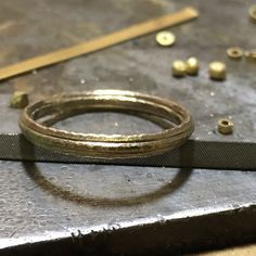 On the bench...new forged gold men's bands for occasions or everyday, coming soon  www.tamaragomez.com