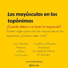 «Las mayúsculas en los topónimos», léelo aquí: http://spanishlanguageroute.com/es/ultimaentrada/45-el-uso-de-la-mayuscula-en-los-toponimos