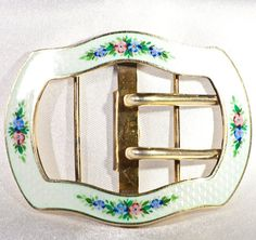 Ladies belt buckle in guilloche enamel. silver gilt belt buckles antique accessories Edwardian gilded sterling fashion and costume jewellery
