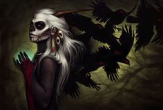 goth fantasy art | dark horror fantasy art gothic demon girl vampires ravens birds ...