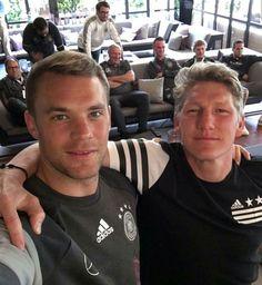 Manuel Neuer and Bastian Schweinsteiger Team Player, Soccer Players, German National Team, Dfb Team, Bastian Schweinsteiger, Germany Football, German Boys, Football Gear, Goalkeeper
