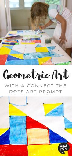 Geometric art for kids is easy, fun, and visually striking when made with this connect the dots art prompt. A great collaborative art activity for all ages! via Artful Parent Painting Activities, Art Activities For Kids, Painting For Kids, Art For Kids, Collaborative Art Projects For Kids, Group Projects, Arte Elemental, Preschool Arts And Crafts, Math Art