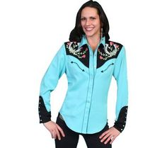 Scully Womens Horseshoe Embroidered Retro Western Shirt Turquoise Large * You can find more details by visiting the image link.