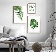 Green Wall Art, Green Art, Bedroom Artwork, Bedroom Decor, Palm Frond Art, Photo Frame Display, Botanical Wall Art, Plant Decor, Plant Wall