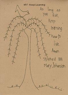 Primitive Stitchery Patterns | Primitive Stitchery Pattern Folk Art Sampler Keep Learning Tree Bird