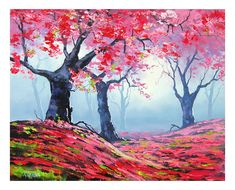 PINK WALL DECAL Tree Painting impressionist landscape art oil