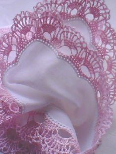 Handkerchief handmade crochet lace and embriodery