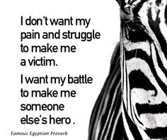 I don't want my pain and struggle to make me a victim. I want my battle to make me someone else's hero .
