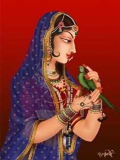 Radharani with with her favorite parrot - Suka