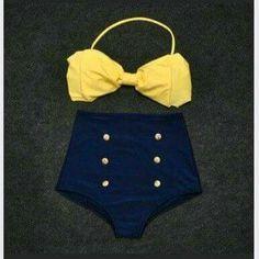 New Vintage cintura alta bow Pin Up Bandeau Bikini traje de baño para mujer  linda retro de dos piezas traje de baño acolchada Halter(China (Mainland))  Más c29a2371926