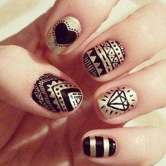 Black-and-gold nail art.