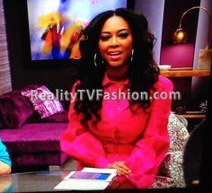 """Kenya Moore's Gucci Pink Bell-Sleeved Dress on """"Celebrity Apprentice"""""""