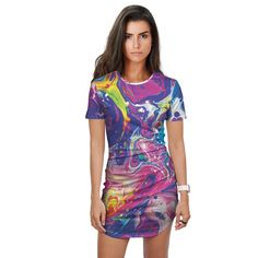 LIQUID TRANCE Fitted Tee Dress Rave Clothing Store, Online Clothing Stores, Women's Clothing, Edm Outfits, Hooded Blanket, Visionary Art, Tee Dress, Trance, Psychedelic