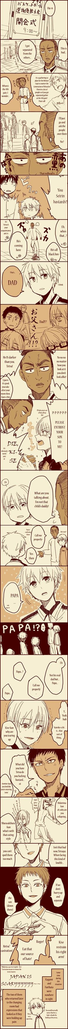 The black guy's real name is Papa Mbaye Siki. 'Dad' was just a nickname Kuroko created for him (because his name is too long). When Kuroko called him 'Papa' (refering to his full name), Kiseki no Sedai (dumbasses that they are) assumed that Papa and Kuroko were involved in, like, son-dad fetish play or something. Hence the reactions...