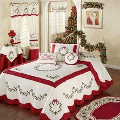 Holly Wreath Quilted Oversized Holiday Bedspread ZThe Holly Wreath Holiday Bedding will make any bedroom look fabulously festive. The cotton/polyester Grande Oversized Bedspread features embroidered holly wreaths and garlands in red and green on a ve Cozy Christmas, Country Christmas, All Things Christmas, Christmas Holidays, Christmas Bedding, Christmas Interiors, Christmas Getaways, Holly Wreath, Bedroom Vintage