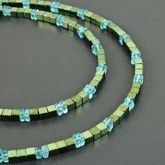 Gemstone Necklace, 925 Silver, Turquoise Bracelet, Beaded Jewelry, Cube, Blue Green, Delicate, Jewels, Gemstones