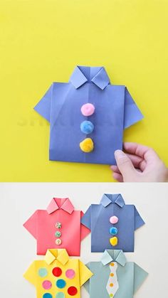 Make these origami shirt father's day cards with the kids to celebrate dad. Include a photo to make it a special handmade father's day card! crafts ideas Origami Shirt Father's Day Card Paper Crafts For Kids, Diy Arts And Crafts, Creative Crafts, Preschool Crafts, Fun Crafts, Decor Crafts, Card Crafts, Diys With Paper, Quick Crafts