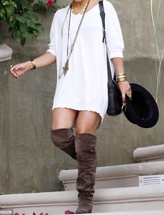 Oversized sweater dress and boots! Vanessa hudgens style