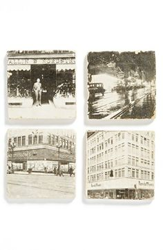 Coasters: can be made with old photos or postcards, love them!