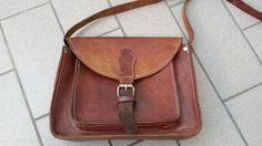 Vintage-Damen-Tasche-ECHT-LEDER-Hand-Made