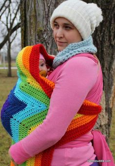 Star blanket, crochet, with button, great for babywearing. Could sell them at LLL too