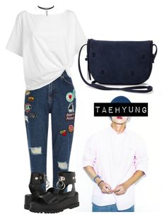 """Taehyung Inspired Outfit #6"" by flaviaazevedo2000 ❤ liked on Polyvore featuring River Island, Red Herring, TOMS, UNIF, kpop, bts, bias and taehyung"