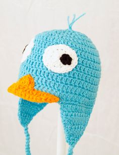 Perry the Platypus Earflap Hat from Phineas and Ferb, Turquoise Crochet Beanie, send size choice baby - adult. $30.00, via Etsy.