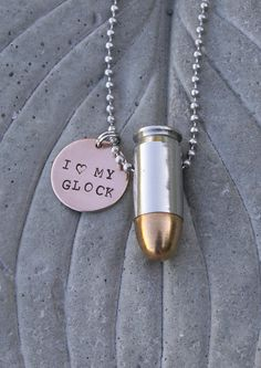 "Bullet Jewelry, ""I Love My Gun, Glock, 1911"" Customized Hand Stamped Charm, 45 Caliber or 9mm Bullet Ball Chain Necklace on Etsy, $33.00"