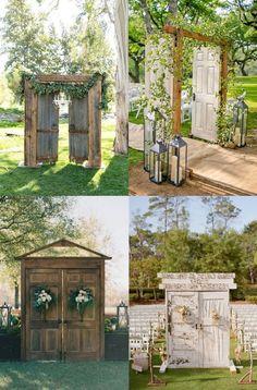 2021 Decor Trends: DIY Ideas for Rustic Wedding Arch Old Doors Wedding, Wedding Arch Rustic, Outdoor Wedding Doors, Backdrop Wedding, Ceremony Backdrop, Wedding Ideas, Rustic Arbor, Rustic Outdoor, Rustic Wood