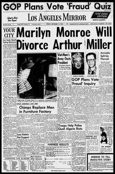 Marilyn Monroe, Arthur Miller to Divorce Times Newspaper, Newspaper Headlines, John F Kennedy, Divorce, Joseph, Jackie Gleason, Bob Hope, Thanks For The Memories, Showgirls