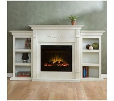 Add bookshelves to an electric fireplace and paint the same colour, mount tv on wall and maybe add sconces to the sides