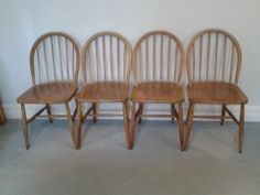 Kitchen chic seating set - four #vintage Ercol blonde windsor chairs.